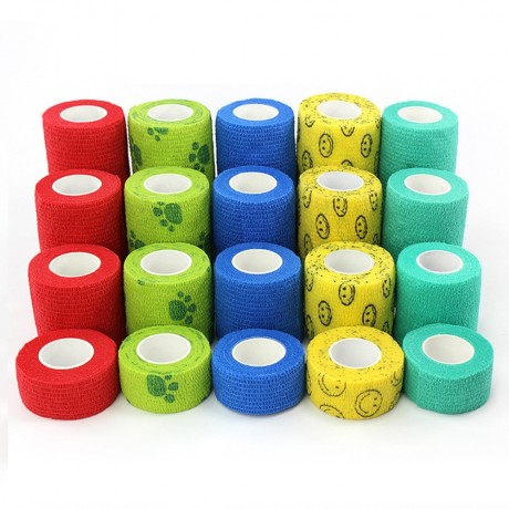 1 Pcs Printed Medical Self Adhesive Elastic Bandage 4.6m Colorful Sports Wrap Tape for Finger Joint Knee First Aid Kit Pet Tape