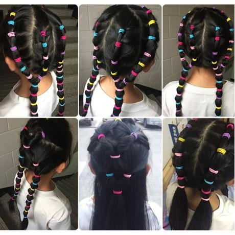100 PCS/Set Gadis Permen Warna Nilon Elastis Rambut Band Anak Karet Band Ikat Kepala Ikat Fashion Rambut Aksesoris