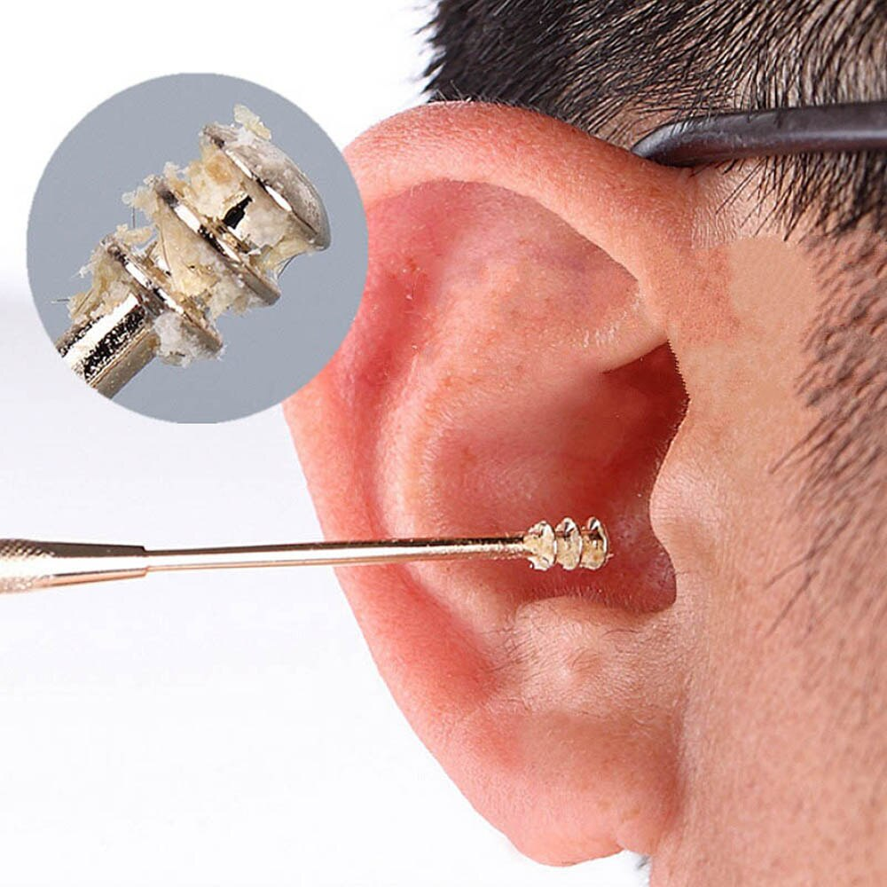 1PC Ganda Stainless Steel Spiral Telinga Pilih Sendok Ear Wax Removal Pembersih Telinga Alat Multi-Fungsi portable
