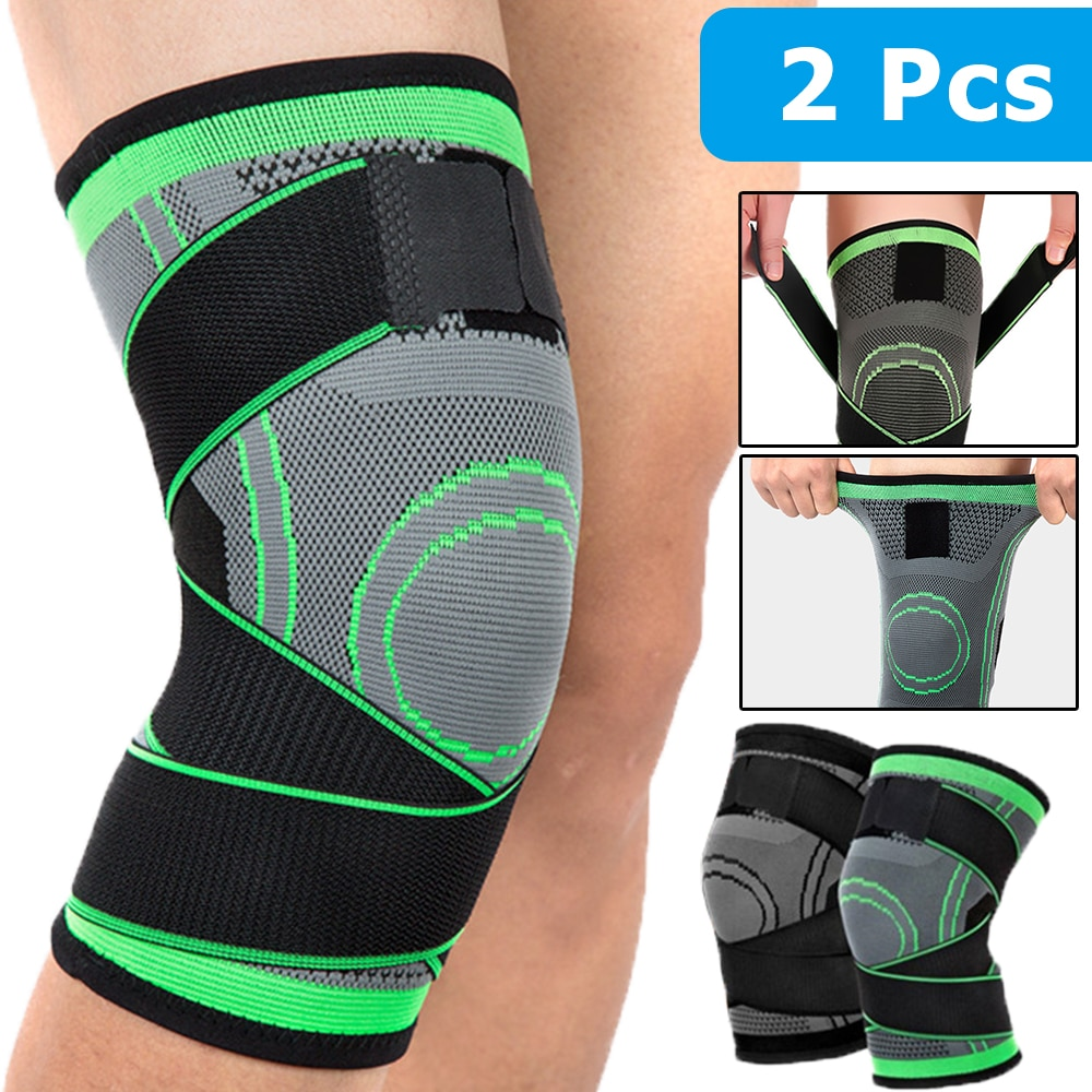 1Pair Men Women Sports Knee Support Compression Sleeves Joint Pain Arthritis Relief Running Fitness Elastic Wrap Brace Knee Pads
