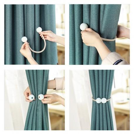 1X Pearl Magnetic Tirai Klip Tirai Pemegang Tieback Gesper Klip Bola Gantung Gesper Dasi Kembali Tirai Aksesoris Dekorasi Rumah