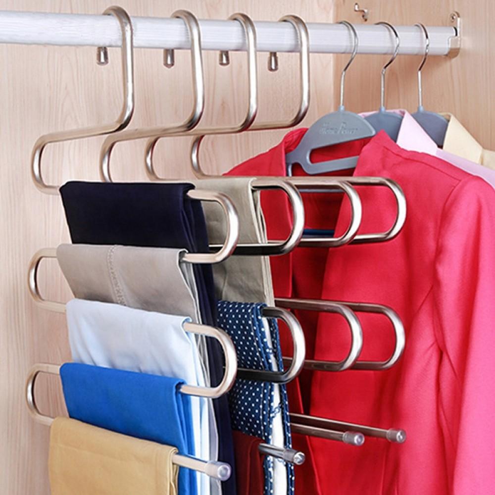 5 Lapisan Stainless Steel Gantungan Baju S Bentuk Celana Penyimpanan Gantungan Pakaian Rak Penyimpanan Multilayer Penyimpanan Gantungan Baju