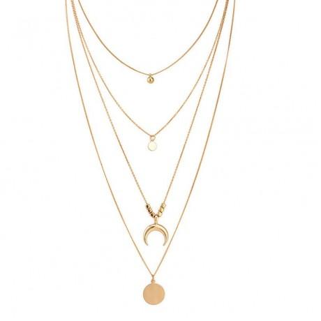 ABDOABDO 2020 Collier Kalung Baru Multi-Lapisan Bulan Stainless Steel Disc Liontin Rumbai Wanita Perhiasan Kalung Kerah