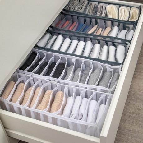 Asrama Lemari Organizer untuk Kaus Kaki Home Terpisah Pakaian Penyimpanan Box 7 Grid Bra Organizer Foldable Laci Organizer