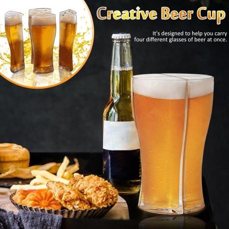 Baru Super Schooner Gelas Bir Mug Piala Separable 4 Bagian Kapasitas Besar Tebal Bir Mug Kaca Transparan untuk Club Bar pesta