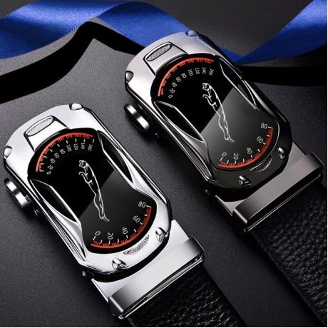 CARTELO Sabuk Kulit untuk Pria 3.5Cm Lebar Olahraga Merek Mobil Otomatis Fashion Gesper Hitam Asli Leather Belt Pria sabuk Sapi