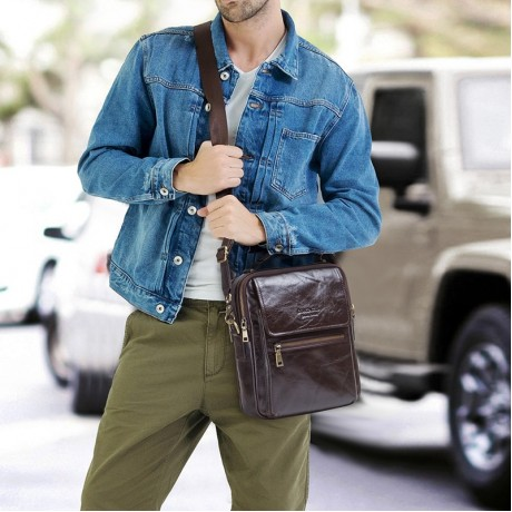 CONTACT'S new genuine leather messenger bag for men casual shoulder bags male flap bag luxury brand crossbody bags for 9.7\