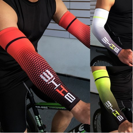 Cool Men Cycling Running Bicycle UV Sun Protection Cuff Cover Protective Arm Sleeve Bike Sport Arm Warmers Sleeves