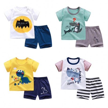 Cotton Summer Baby Children Soft Shorts Suit t-shirt Sodder Boy Girl kids dinosaur cartoon infant clothes cheap stuff for 0-6Y