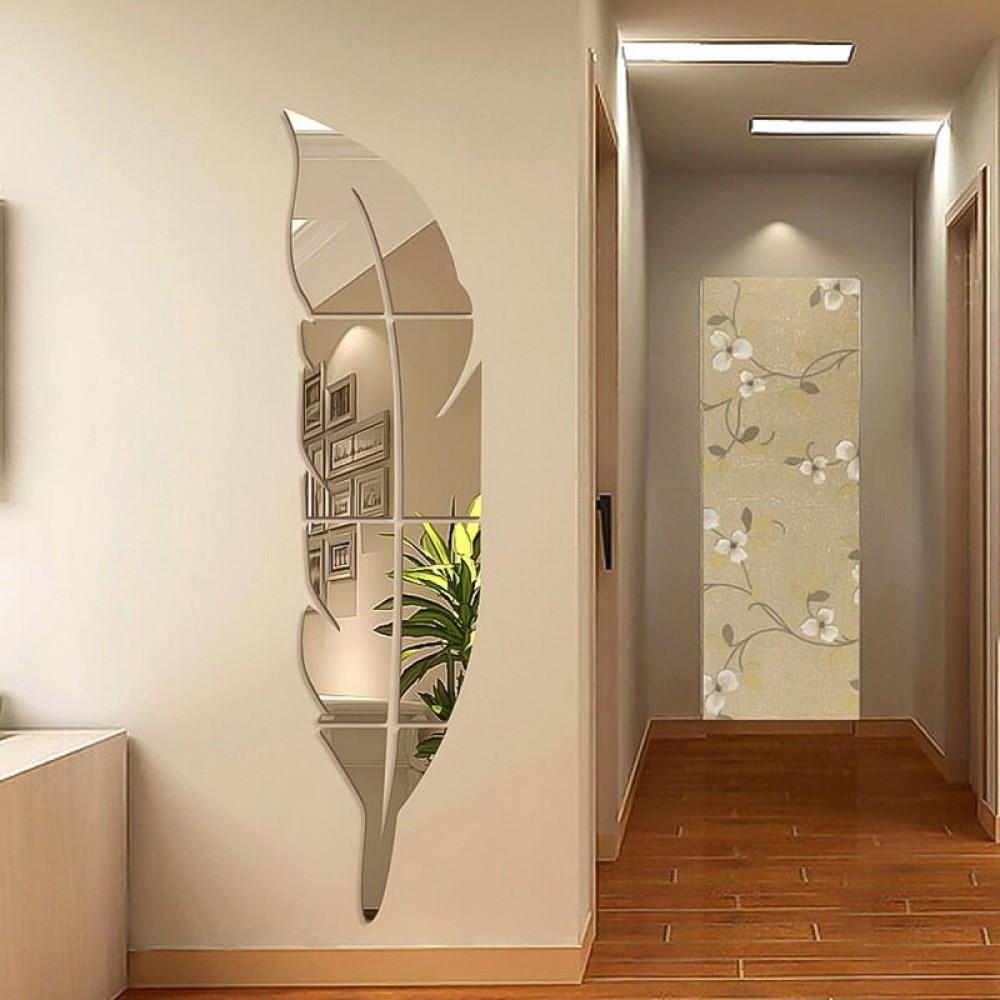 DIY Bulu Plume 3D Cermin Stiker Dinding untuk Ruang Tamu Kamar Seni Dekorasi Rumah Stiker Vinyl Akrilik Stiker Dinding Mural Dekorasi
