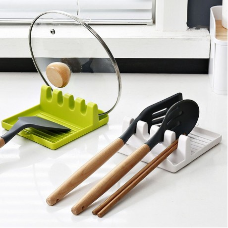 Dapur Sendok Pemegang Garpu Spatula Rak Rak Organizer Plastik Sendok Istirahat Sumpit Pemegang Non-Slip Sendok Pad Perkakas Dapur