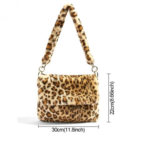 Fur Bag animal print leopard bag women ladies winter warm crossbody bags famous Brand Large Capacity shoudler Clutch 2019 new