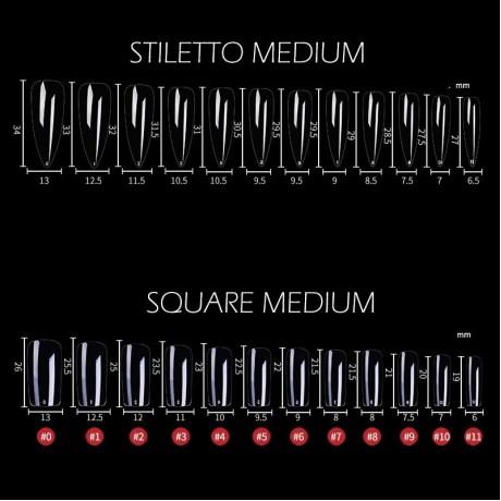 Gel X Kuku Sistem Perpanjangan Penutup Penuh Terukir Jelas Stiletto Peti Mati Tips Kuku Palsu 240PCS/Tas