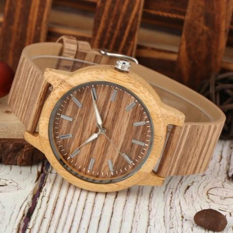 Kreatif Kayu Watch Pria Wanita Pecinta Jam Tangan Couple Berhutan Jam Tangan Klasik Coklat Panggil dengan Luminous Pointer Reloj