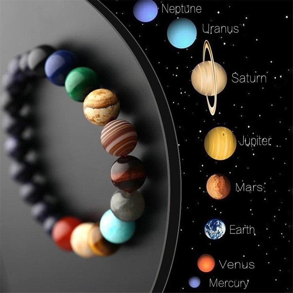 Pecinta Delapan Planet Batu Alam Gelang Alam Semesta Yoga Chakra Galaxy Tata Surya Manik-manik Gelang untuk Pria Wanita Perhiasan