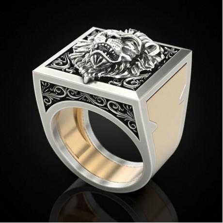 Pria Kombinasi Cincin Rahasia Kerajaan Lion King Hadiah Cincin Hip Hop Perhiasan Punk Viking Cincin