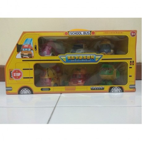 Robocar Poli Figure set isi 6pcs school bus deform Car