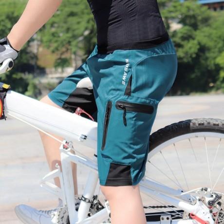 WOSAWE Pria Empuk Longgar Celana Pendek Bersepeda Reflektif MTB Sepeda Gunung Naik Sepeda Celana Tahan Air Longgar Celana Pendek