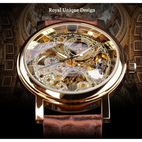 Winner Transparent Golden Case Luxury Casual Design Brown Leather Strap Mens Watches Top Brand Luxury Mechanical Skeleton Watch