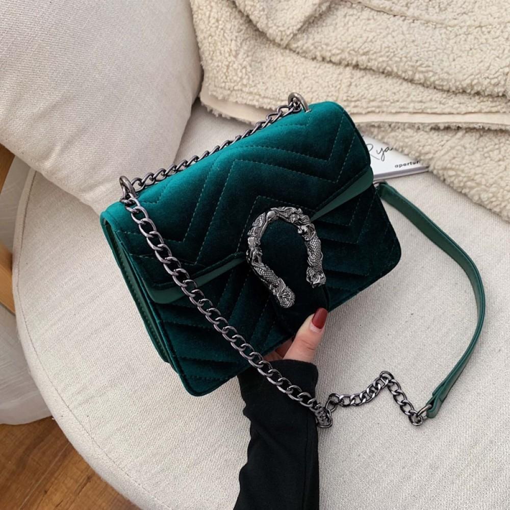 Women Bag Velour Shoulder Bag Solid Color Chain Buckle Crossbody Bolsa Feminina Luxury Handbags Women Bags Designer  Sac A Main