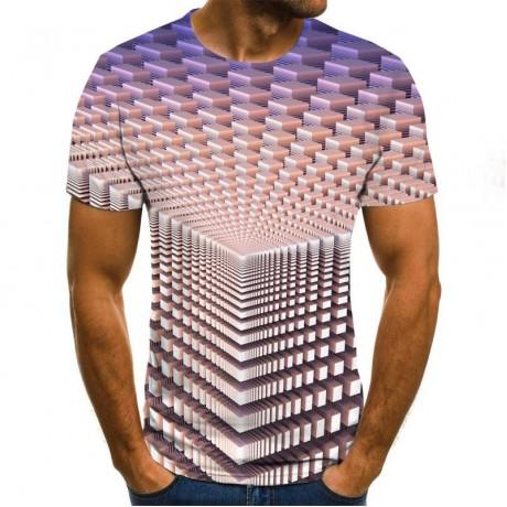 Tiga Dimensi Terowongan Grafis T-shirt Kasual Harajuku Atasan 3D Kisi Pria T-shirt Musim Panas O Leher Kemeja Ukuran Streetwear